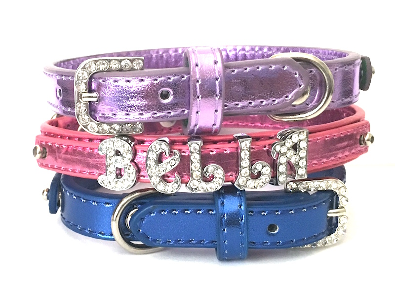 Bling Personalized Metallic Dog Collar - Faux leather with Rhinestone Buckles, XS, S, M
