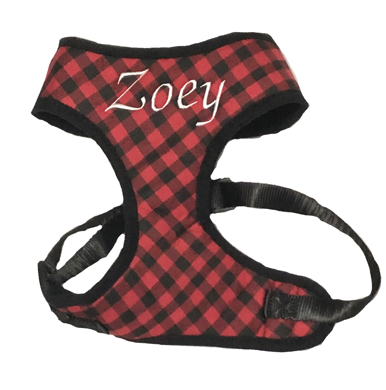 #1 Best Seller Personalized Buffalo Check Dog Harness Custom Embroidered with Name