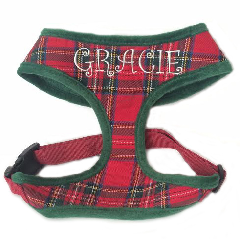 Best Seller Holiday Tartan Plaid Soft Dog Harness Royal Stewart Plaid Custom Embroidered with Name