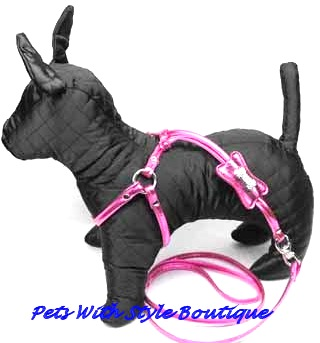 Designer Bling Step in Harness for Dogs with Leash Attached