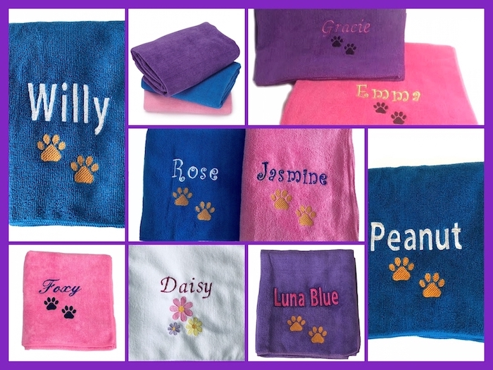 #1 Best Seller Dog Pet Towels Microfiber Personalized-Custom Embroidered with Name and Paw Prints or Daisies - Pink, Purple, Blue, or White