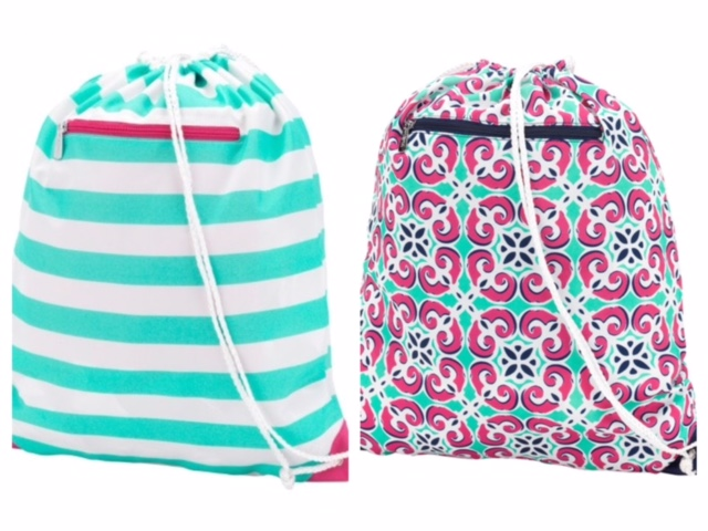 Monogrammed Drawstring Backpack Gym Bag with Zippered Pocket