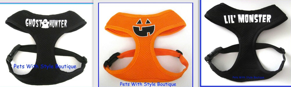 Halloween Soft Mesh Dog Harness Costume Pumpkin, Ghost Hunter, or Lil'Monster