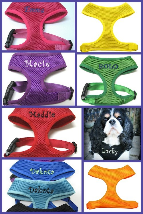 #1 Best Seller Personalized Soft Mesh Pet Harness Custom Embroidered S-XL