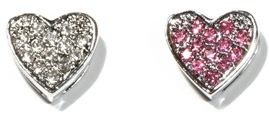 10mm Rhinestone Slider Charm Full Heart Clear Pink Red Purple Green Multi