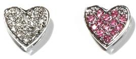 10mm Rhinestone Slider Charm Full Heart Clear Pink Red Purple Green Multi