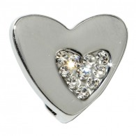 10mm Rhinestone Slider Heart on Heart
