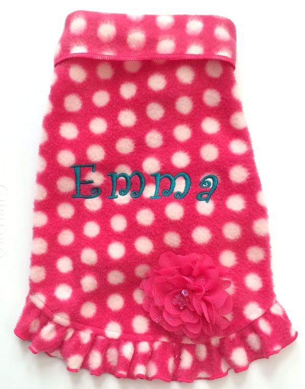 Best Seller Stretch Fleece Pet/Dog Coat Pullover girly ruffle - Hot Pink Dot, Camel Plaid, Gray Polka Dot-Plain or Personalized