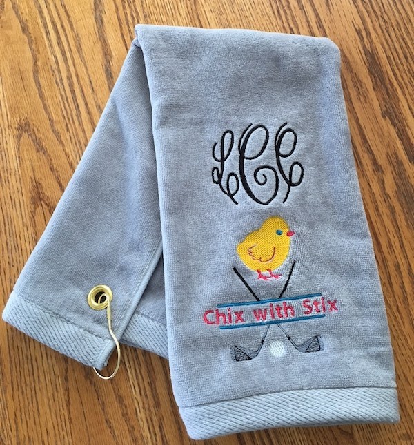 Best Seller Monogrammed Golf Towel - I love Golf, Chix with Stix