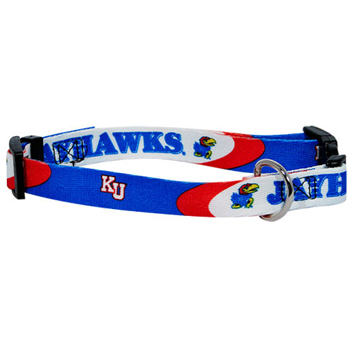 NCAA Kansas Jayhawks Dog Collar Officially Licensed-NCAA Kansas Jayhawks Dog Collar Officially Licensed