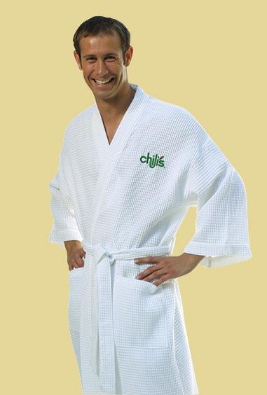 Monogrammed Spa Robe Long Kimono Style Waffle Weave Unisex, White or Beige