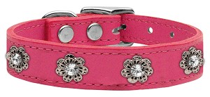 Bling Rhinestone Leather Flower Dog Collar - Pink, limited quantities