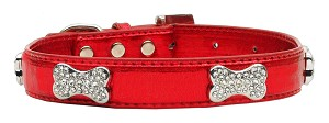 Christmas Holiday Red Dog Collars - Rhinestone Bones Metallic Red faux leather XS, S, M, L