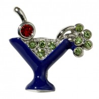10mm Rhinestone Slider Charm Martini