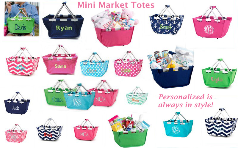 Best Seller Monogrammed Mini Market Totes - Great Gift idea, Baby gift, Pet Supplies, Grads, Moms, Crafts, Sewing, Knitting...More Colors