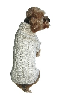 Classic Quality Cable Knit Dog Sweater Tea Cup to Small Dogs-Dog Sweater Cable knit XS S M L XL Small Dogs Hand Knit Fisherman's knit Dallas Dogs Natural Teacup