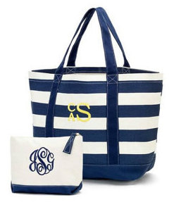 Monogrammed Large Striped Tote Bag, Navy or Pink, add Navy Matching Accessory Bag - Beach, Pool, Boat, Teachers, Grads, Moms