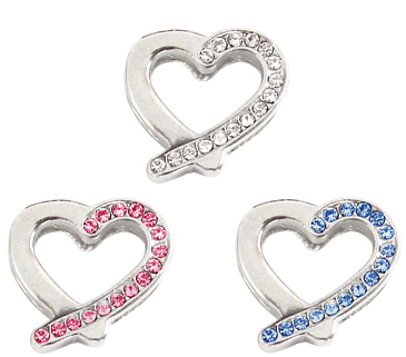 10mm Rhinestone Slider Charm Slanted Heart
