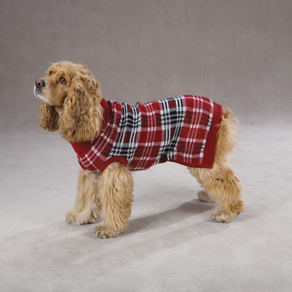 English Plaid Dog Sweater Red Blue-English Plaid dog sweater Red Blue Zack & Zoey
