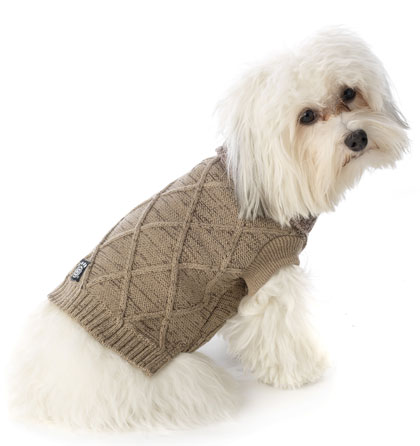Cable Knit Dog Sweater Tweed European Cut