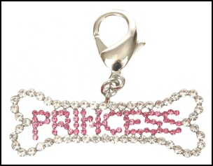 Dog Collar Pendants Princess Diva-Dog collar pendant swarovski crystals princess diva