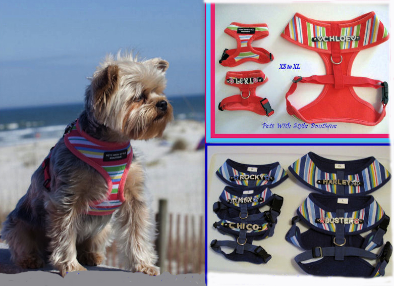 Bling Personalized Striped Soft Dog Harness and Leash - Plain or Personalized-Personalized soft dog harness striped coral blue
