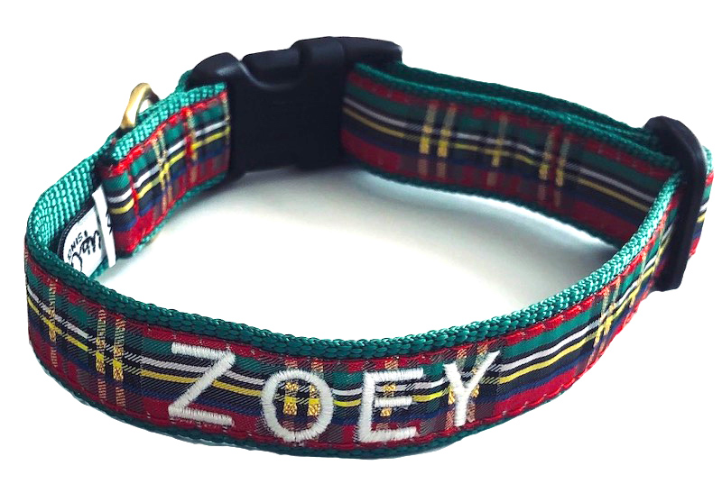 Best Seller Personalized UpCountry Christmas Sparkle Red Plaid Dog Collar - XS - XL