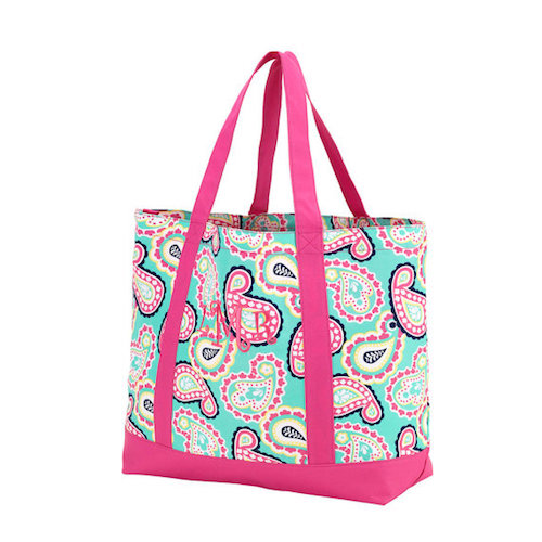 Monogrammed Large Tote Bag - Pink Paisley with Name or Monogram, Teachers, Grads, Moms