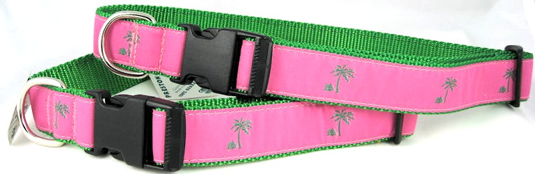 Preston Ribbon Dog Collar Palm Tree Pink & Green-Preston Palm Tree dog collar Pink green