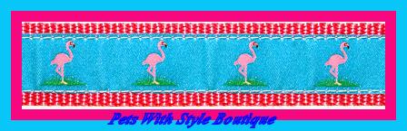 Flamingo Dog Collar by Preston Ribbons