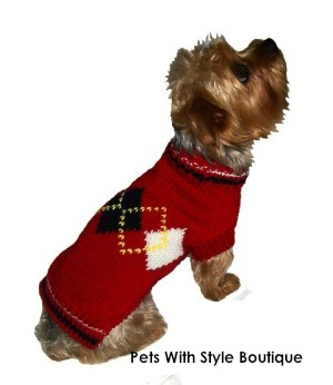 Argyle Dog Sweater Red or Brown for Small Dogs-dog sweater pet apparel argyle petite dog small hand knit dog sweater dallas dogs designer dog sweater