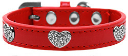 "Bling Heart Dog Collar Red, Pink, Black Neck 6.5"" to 18"""