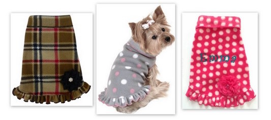 Best Seller Stretch Fleece Pet/Dog Coat Pullover girly ruffle - Plain or Personalized, XS - L dogs up to 30 lbs
