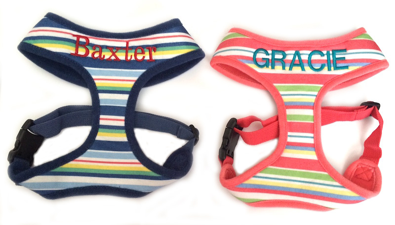 Personalized Dog/Pet Harness Striped custom embroidered with Name - Blue or Coral Stripe XS-XL