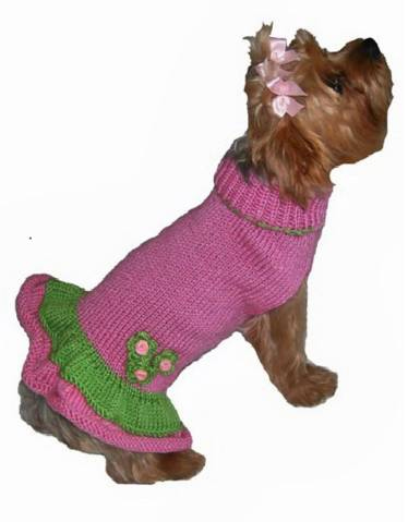 Girlie Girl Designer Dog Sweater Dress for Small Dogs Pink Green