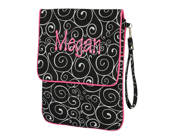 "Monogrammed ipad, Tablet or Kindle Fire Case - 9"" x 12"""