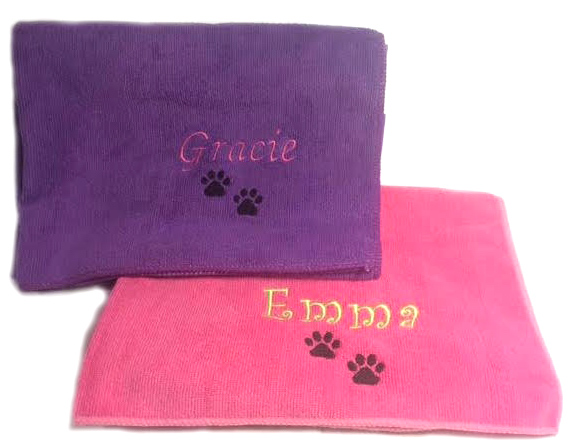 #1 Best Seller Dog Pet Towels Microfiber Personalized-Custom Embroidered with Name and Paw Prints - Pink, Purple, Blue, White