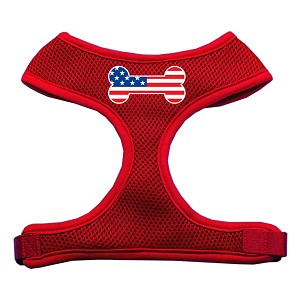 USA Bone Flag Patriotic Soft Mesh Dog Harness - July 4th Independence Day Made in the USA, Plain or Personalized