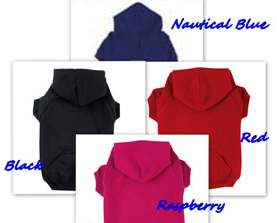 Dog Hoodie Sweatshirt Plain or Personalized-Basic Dog Hoodie Sweatshirt Plain Personalized Raspberry Pink Nautical Blue Black Red