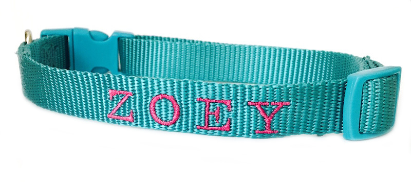Personalized Embroidered Dog Collar - Vibrant Colors