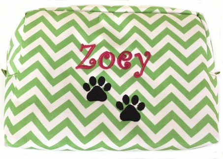 Pet Zippered Travel Bag - Chevron Print, Pet Name and Paw Prints custom embroidered