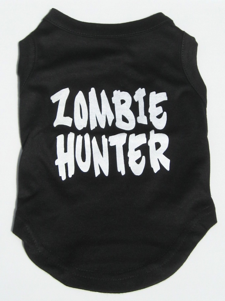 Halloween Dog Tank Shirt Zombie Hunter Screen Print- Be ready for the Zombie Apocolypse