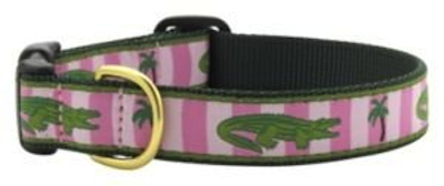 UpCountry Designer Alligator Dog Collar Pink Stripes Green Alligator
