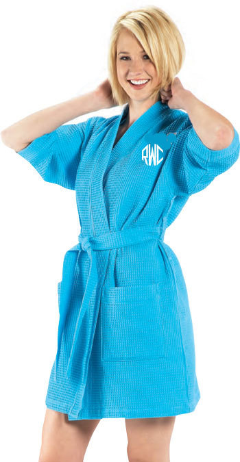 Best Seller Monogrammed Spa Robe Kimono Style Short Waffle Weave Unisex,  More Colors