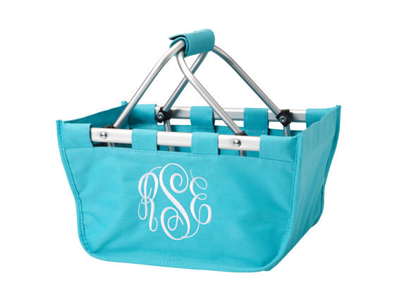 Best Seller Monogrammed Mini Market Totes - Great Gift, New Baby, Pet Supplies, New Puppy, Grads, Moms, Crafts, Sewing, Knitting..More Colors