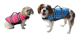 Paws Aboard Designer Dog LifeJackets-Paws Aboard Designer Doggy Lifejacket Life Vest Blue Dot Pink Dot Bright Yellow