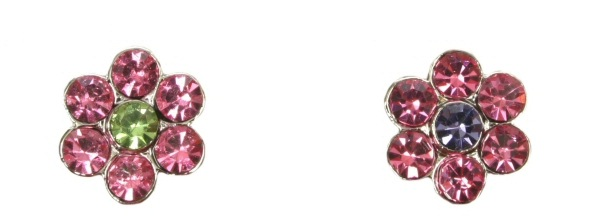 10mm Rhinestone Slide Charm Flowers Multicolored, Purple, Pink/Green, Pink/Purple