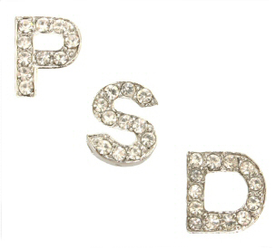 10mm Block Rhinestone Slider Letters Clear