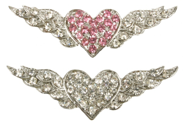 10mm Rhinestone Slider Charm Winged Heart
