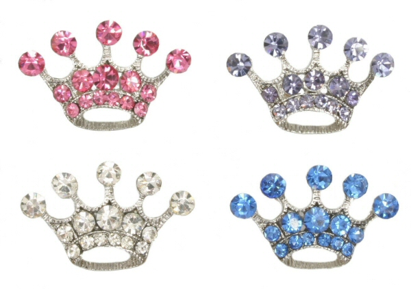 10mm Rhinestone Slider Charm Princess Crown Pink, Lt. Purple, Clear, Blue, Green & Pink, Red, Multicolored